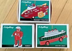 Lot Of 3 Schylling Tin Toy Ornaments Collector Robot Rocket Ocean Liner 1997