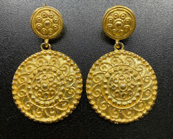 Vtg Large Round Medallion Coin Dangle Earrings Pebbled Etruscan Costume Jewelry