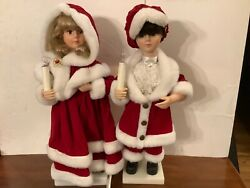 Telco Motion-ettes Of Christmas Boy And Girl Caroler Animated Lighted 24 Figures