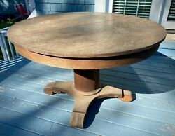 Antique 45 Round Tiger Oak Table Mission Farmhouse Dining Local Pu Chicago