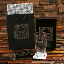 Personalized 20 Oz Beer Pint Glass And Bottle Pro Opener Groomsmen Gift Set