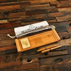 Personalized Professional Wooden Desk Tray, Pens, Notes, Clips Stationery Set