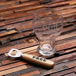 Personalized Engraved 16 Oz. Beer Glass Mug With Free Wooden Bottle Opener