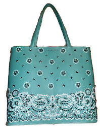Authentic Lamarthe Blue Patterned Tote Bag Bucket Bag Made In Italy $32.99