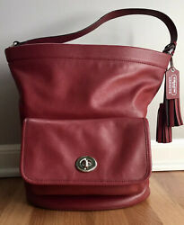 COACH Red Leather Shoulder Bag Bucket Tote Purse Legacy Archival 21193•LG•EUC $94.99