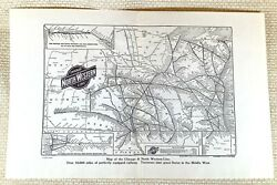 1916 Antique Railway Map The Chicago And North Western Line American Railroad