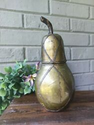 Hammered Brass Copper Metal Covered Container Pear Sculpture Wood Wooden