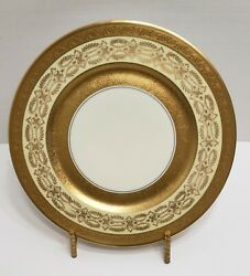 12 Antique Gold Encrusted Handc Selb Bavaria Heinrich And Co Dinner / Charger Plates
