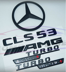 For Mercedes Amg 4matic+matte Black Emblem Star Boot Trunk Cls53 Coupe Turbo