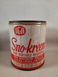 Iga Grocery Store Sno-kreem Shortening Tin Can No Lid Has Stains