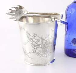 Chinese Silver Hammered Dragon Ice Bucket Pail And Tongs. Tack Hing C1920 Antique