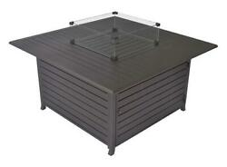 Propane Gas Fire Pit Table Patio Heater Aluminum Tabletop Glass Rocks Cover