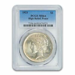 1921 Peace Silver Dollar - Pcgs Ms-64 - Mint State 64 - High Releif
