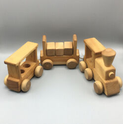 Vintage Handmade Wooden Train Set By Woodnotes Toy Kids Holiday Gift 3 Pieces