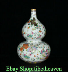 12.6 Marked Old Chinese Pastel Porcelain Palace Gourd Butterfly Flower Bottle