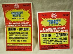 Vintage Mighty Mite 80/16's And Mighty Mite 20/50's Firecracker Brick Labels W@w