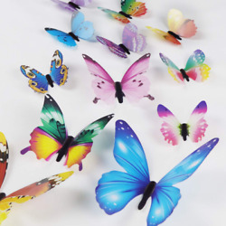 Butterfly Wall Decals 24 Pcs 3D Butterfly Removable Mural Stickers Wall Sticker