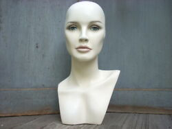 Vintage Mannequin Female Head Bust Wig Hat Jewelry Stand Store Display 17.5 H