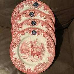 Royal Stafford 4 Deer Buck Red Christmas Dinner Plates Dishes