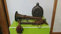 Vintage Japanese Army 1940s Military Bugle Lenghth 13.6in Water Bottle
