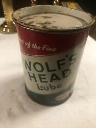 Vintage Wolfs Head Lube 1 Lb. Grease Old Tin Oil Can Gas Display