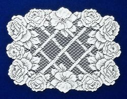 Two 14 X 19 Lace Place Mats White Trellis Of Roses Livingroom Dining Room
