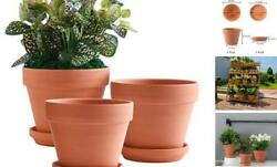 8 Inch Clay Pot For Plant With Saucer - 3 Pack Large Terra Cotta Plant 8 Inch