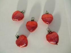5 Vintage Mercury Glass Red Heart Shaped Ribbed Christmas Tree Ornaments