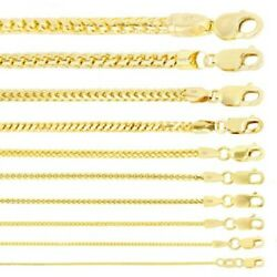 14k Yellow Gold Solid 0.9mm-6mm Round Box Franco Chain Pendant Necklace 16- 30