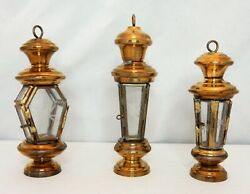 Lot Of 59 Vintage 4andrdquo Turkish Brass And Etched Glass Miniature Candle Lanterns