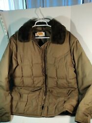 Vintage Comfy Down 70and039s Square Puffer Brown Jacket Mens L