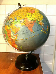 A Magnificent Art Deco Red On The Map Globe With Bakelite Base - Modernist