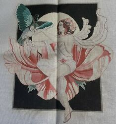 Art Deco Nouveau Lady W Owl Needlepoint Canvas Hand Painted Vintage 23andrdquox22andrdquo