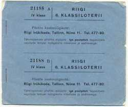 Estonia 6th State Lottery Booklet 8 Tickets Iv Cl 1938