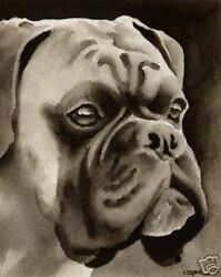 Boxer Art Print Sepia Watercolor by Artist DJR