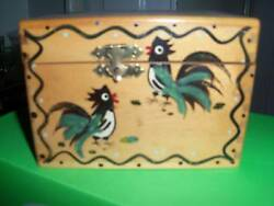 Vtg Hand Painted Rooster Wood Recipe Box Japan Dovetail