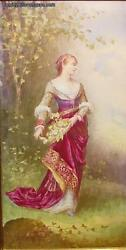 Antique Painting On Porcelain Plaque Size 15-3/4 By 8-1/4 Lady With Flowers