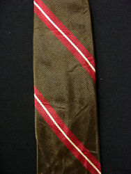 Vintage 1950's-1960's Silk Olive And Red Rivetz Label Tie