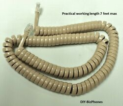 Beige 12 Ft Generic Handset Cord Phone Curly Coil Spring Receiver Cable Wire Tan