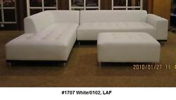 Modern Contemporary Classic Design White Leather Sectional Sofa 3 Pc Set 1707
