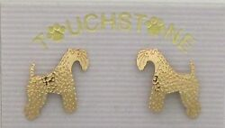 Kerry Blue Terrier Jewelry Gold Post Earrings by Touchstone