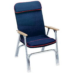 High Back Canvas Covered Aluminum Folding Chair For Boats Pontoons And Docks