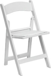 Lot of 150 White Wood Folding Chairs Vinyl Padded Seat