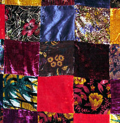 3and039 36 Colorful Velvet Patchwork Quilt Top Fabric - Classic Victorian Look