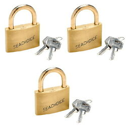 3 Pack Of Keyed Alike 7/32 Inch Solid Brass Padlocks For Boats And Trailers
