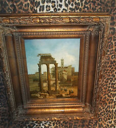 Ionic Ruins Museum Quality Masters Style Reproduction Wood Frame Oil Painting