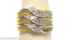 Solid 18 Karat Yellow And White Gold 0.21 Ct Tw Natural Diamond Band Size 6.5