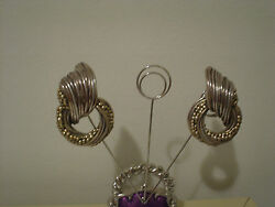 Big Sterling Clip Earrings Free Form Circular Design 42 Grams Statement Piece