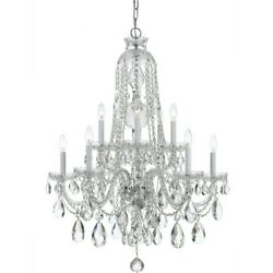 Crystorama Traditional 10 Lt Clear Crystal Chrome Chandelier I - 1110-ch-cl-mwp