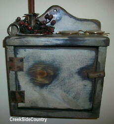 Primitive Wood Shabby Chic Thermostat Control Cover Cabinet Box Shelf